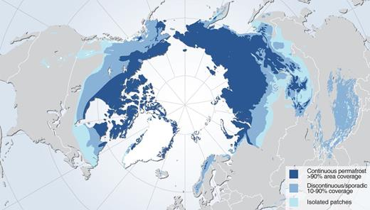 Pan-Arctic extent of permafrost (obtained at http://www.grida.no/graphicslib/detail/permafrost-extent-in-the-northern-hemisphere_1266#, accessed 23 May 2016; credit: Hugo Ahlenius, UNEP/GRID-Arendal; source: Brown et al., 1997).