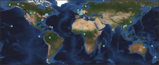 A global network of Critical Zone Observatories (CZOs) and CZO-like sites. Red dots indicate the US national CZOs (http://criticalzone.org/national/), including Boulder Creek CZO, Calhoun CZO, Catalina/Jemez CZO, Christina CZO, Eel CZO, IML CZO, Luquillo CZO, Reynolds Creek CZO, Shale Hills CZO, and Southern Sierra CZO; orange dots indicate the four Terrestrial Environmental Observatories (TERENO) CZOs in Germany (http://teodoor.icg.kfa-juelich.de/overview-en); and dark red dots indicate the four CZOs established by Soil Transformations in European Catchments (SoilTrEC) in Switzerland, Austria, Greece, and Czech Republic (http://www.soiltrec.eu/index.html; http://esdac.jrc.ec.europa.eu/projects/critical-zone-observatories). Blue dots indicate the other CZO-like sites summarized by Banwart et al. (2013) and registered in SoilTrEC. Five Chinese CZOs co-funded by a Sino-UK joint program and the Australian CZOs are being developed and are not included in this figure. This map of the global network of CZOs may not be complete.