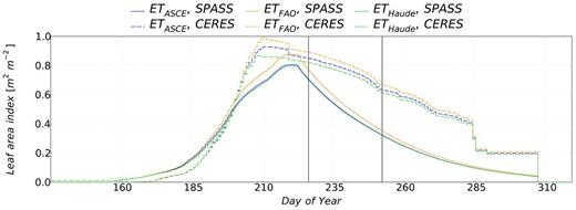 Time series of simulated leaf area indices (LAIs) from 15 May to 15 Nov. 2013. Simulations resulting from different evapotranspiration modules are displayed in blue (ETASCE), yellow (ETFAO) and green (ETHaude), the solid (SPASS) and dashed (CERES) lines stand for the chosen plant module. The vertical solid black lines show the period of the sap flow measurements from 14 Aug. to 9 Sept. 2013.