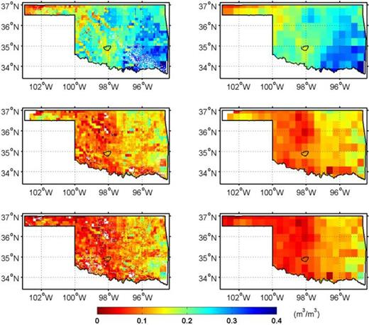 The 1-km downscaled (left column) and the 36-km SMAP (right column) soil moisture for the state of Oklahoma corresponding to 30 Apr. (Row 1), 12 Oct. (Row 2), and 15 Oct. 2015 (Row 3).