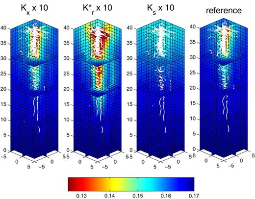 Cross-sections of the three-dimensional soil water content distribution after 1 d with constant water potential at the root collar h = −1000 cm (Collar Boundary Condition 1, Table 1). Comparison between the reference (extreme right) and 10-fold increase of xylem conductivity (Kx), radial conductance (Kr*), and saturated soil conductivity (Ks). Root architecture is shown in white.