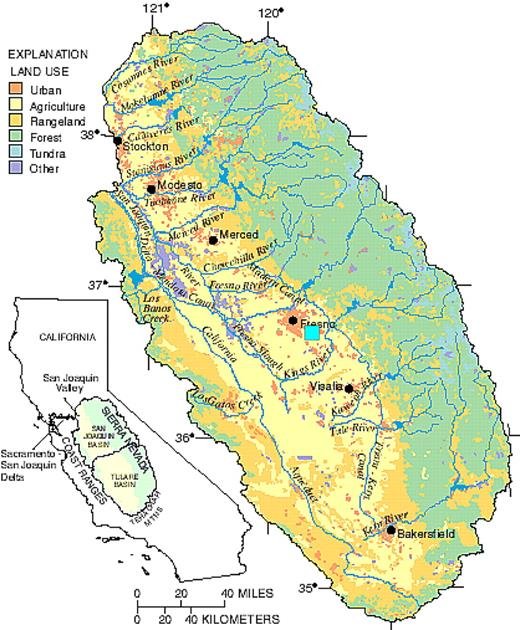 San Joaquin Valley shown on the map of California; solid box represents the study area.