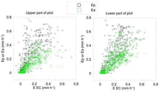 Potential evaporation (Ep) and calculated actual evaporation (Ea) vs. the eddy covariance (EC) measured evaporation (EEC). Left plot shows EC measurements with a footprint in the upper part of the field and Ea calculations by the simple soil water balance model that was parameterized for the upper part of the field. Right plot shows EC measurements and Ea calculations for the lower part of the plot.