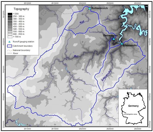 The location of the runoff gauging stations Rollesbroich, Dedenborn, and Erkensruhr and their associated catchment areas.