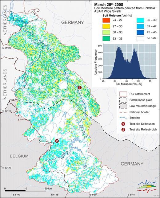 Envisat satellite Advanced Synthetic Aperture Radar (ASAR) derived soil moisture pattern of the River Rur catchment from 25 Mar. 2008.
