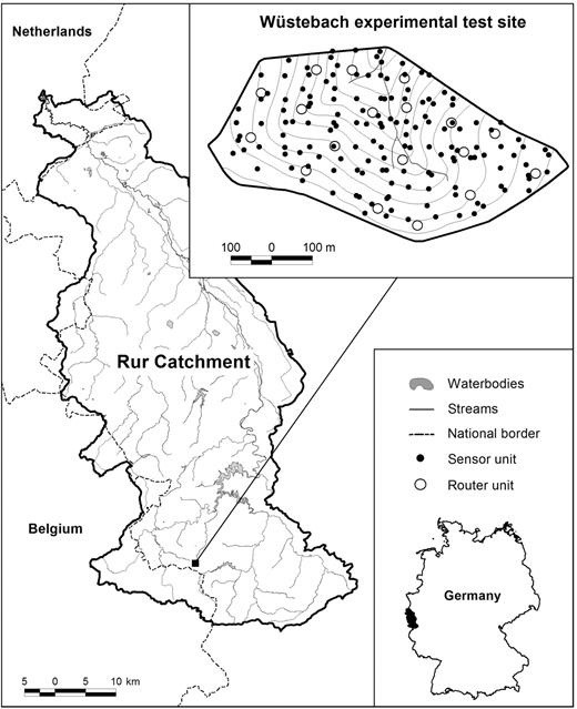 Location of the experimental Wüstebach catchment within the TERENO Rur/Lower Rhine Valley observatory and the SoilNet instrumentation (sensor and router units); the contour interval is 3 m.