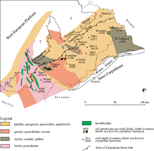 geological map of the crystalline basement below the neogene foredeep and the carpathian thrust belt in