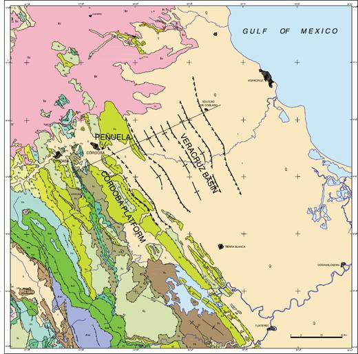 geological map of the laramide foreland fold and thrust belt in the cordoba platformveracruz