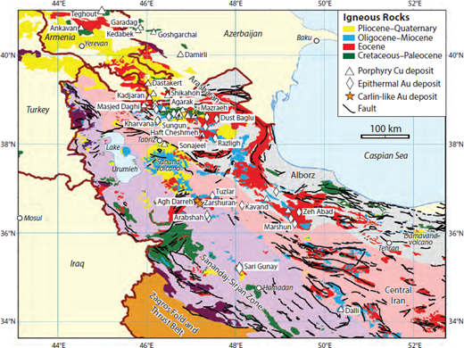 geologic map of northwestern iran showing the locations of mesozoic and cenozoic igneous rocks and