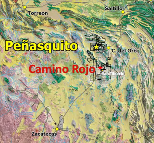 location of camino rojo relative to peasquito mine and southern margin of the sierra madre oriental