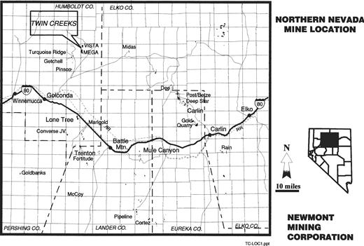 Northern Nevada Mine Location.