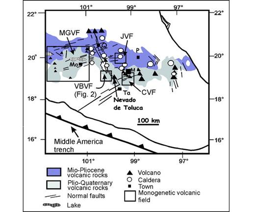 Figure 1. Index map of the central and eastern sectors of the Mexican Volcanic Belt indicating the location of the Valle de Bravo Volcanic Field (VBVF). Other monogenetic volcanic fields in this sector are MGVF—Michoacán-Guanajuato Volcanic Field, JVF—Jilotepec Volcanic Field, and CVF—Chichinautzin Volcanic Field. Also shown are the three main fault systems affecting this region: Tenochtitlán fault system, oriented NE, Taxco–San Miguel de Allende fault system, oriented NW, and Chapala-Tula fault system, oriented ENE. Black triangles represent large, well-known stratovolcanoes, such as Popocatépetl and Citlaltépetl; size of triangle reflects relative size of volcano. Towns are: M—Mexico City, Mo—Morelia, P—Pachuca, Q—Querétaro, Ta—Taxco.
