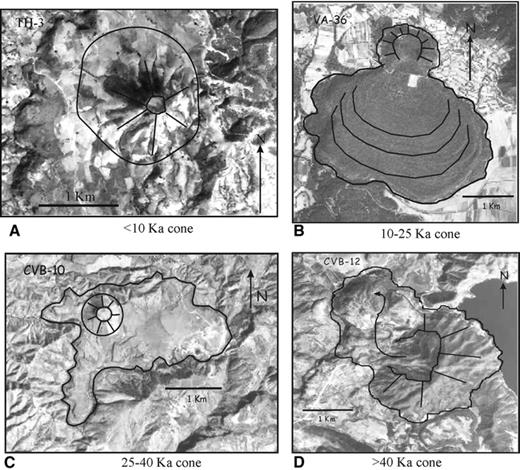 Figure 5. Aerial photographs showing four examples of cones of the Valle de Bravo Volcanic Field according to their age. (A) Cone younger than 10 ka (TH-3), (B) 10–25 ka cone (cone VA-36), (C) 25–40 ka cone (cone CVB-10), (D) older than 40 ka cone (cone CVB-12). See cones' coordinates in Table 2 .