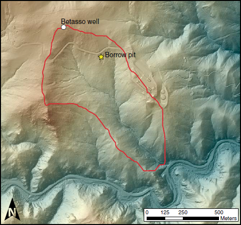 "Shaded relief map of Betasso catchment in Betasso Preserve, showing locations of borrow pit and groundwater well resulting from ""drill the ridge"" campaign."