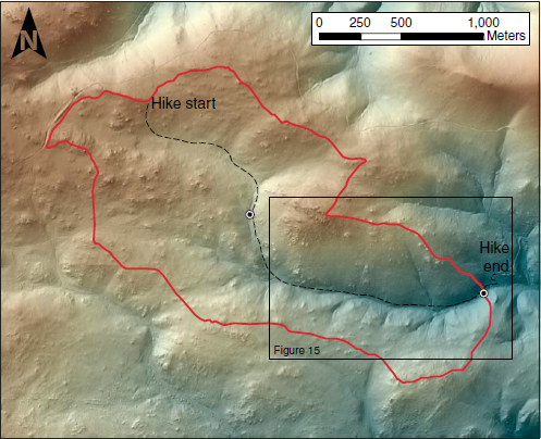 Gordon Gulch shaded relief map derived from bare-earth-processed light detection and ranging. Note that the landscape is dotted with rocky outcrops. Red line outlines catchment boundary above lower stream gage (circle). An upper stream gage (circle) measures stream flow from upper basin. Our hiking route shown with dashed line. Box outlines scene in Figure 15.