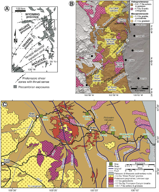 (A) Map of exposed Proterozoic rocks in southwestern United States with major provinces and shear zones (modified after Karlstrom and Williams, 2006). FM-LM: Farwell Mountain-Lester Mountain zone. (B) Simplified geological map of Proterozoic exposures in the Front Range (modified after Tweto, 1979). (C) Geologic map of Big Thompson Canyon and surrounding areas with isograds and field trip stops shown (simplified from Cole and Braddock, 2009).