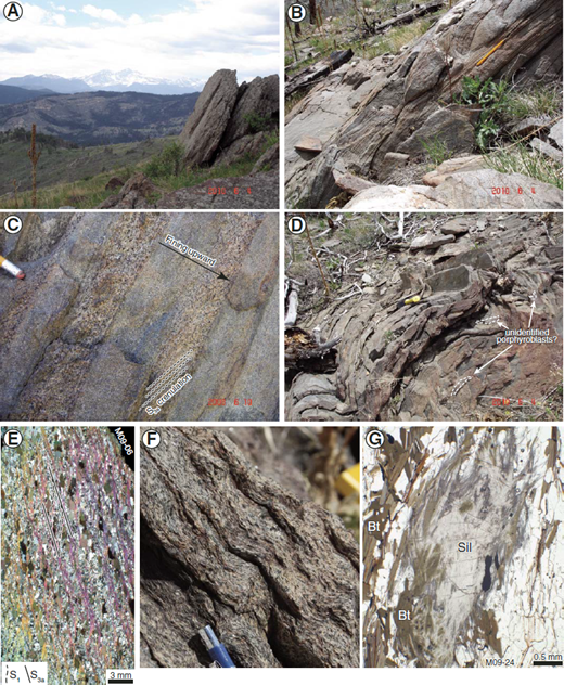(A) Southwestern view on some of the Rocky Mountain high peaks from Storm Mountain Drive (Stop 5). (B) Preserved crossbedding and (C) graded-bedding indicating an overturned sequence. (D) Open to tight F3a folds with unidentified porphyroblasts in the lower part of the outcrop (possibly andalusite or cordierite?). (E) Thin section view of crenulation cleavage with development of the S3a schistosity. (F) Same crenulation as viewed on the outcrop. (G) Millimetersized nodule of sillimanite (Sil), typically growing in close relation with mica (biotite [Bt] especially), suggesting a sillimanite-in reaction by reaction with mica. At the outcrop scale, whitish sillimanite pods stand out of the outcrop due to hardness contrast with mica.