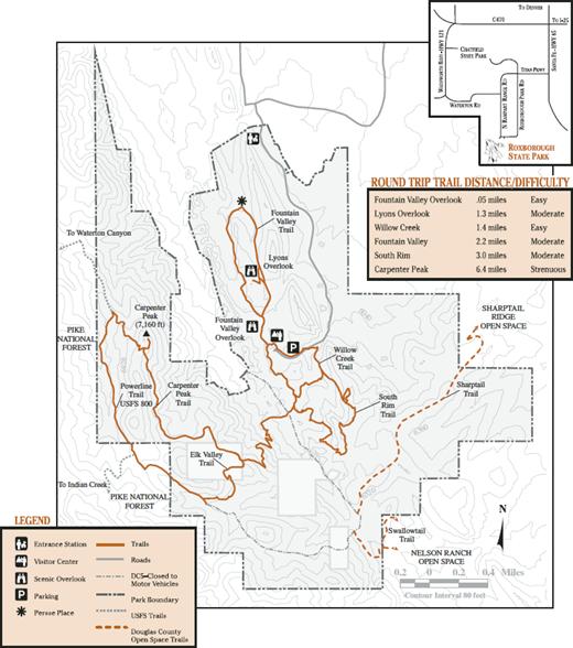 Map of Roxborough State Park. Image: Colorado State Parks.