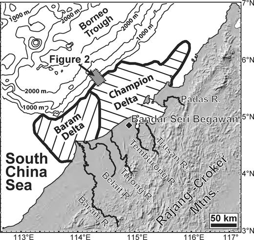 Regional topography and bathymetry map for Borneo and the South China Sea, with location of study region offshore Brunei defined by dashed box. Locations of Baram and Champion Deltas are identified in hashed regions. Boundaries defining the lateral extent of these deltas are taken from maps presented in Sandal (1996).