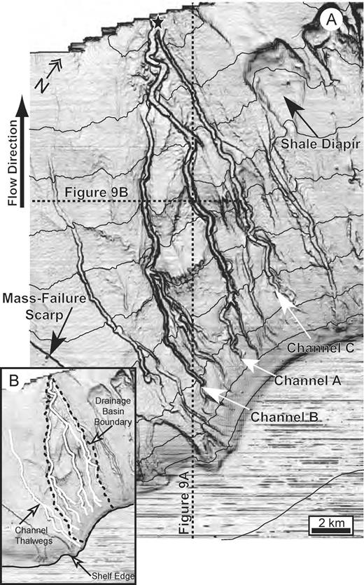Maps of our study region in the South China Sea. A) Slope-magnitude map of study region highlighting the network of leveed submarine channels. This and other slope maps presented here were created by calculating the average absolute value for the local surface slope based on the surface elevations at each data bin and its eight immediate neighbors. High values of surface slope defining channel walls and detachment scarps have high gray-scale intensities (appear dark colored). Contour lines defining 100 m bathymetric intervals are superimposed on the dip map. Locations of seismic sections in Figure 9 are represented by dashed lines. Arrows and labels identify channels A, B, and C. Star denotes channel confluence referred to in Figure 3. B) Slope map with lines indicating interpreted location of shelf edge, 10 channel thalwegs, and margins of study drainage basin.