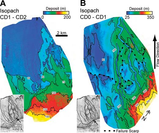 Maps of deposit thickness. A) Isopach measured between subsurface horizons CD1 and CD2. The contour interval is 25 m. The insert delineates the boundary of the map with respect to the study area. B) Isopach measured between the present-day seafloor (CD0) and subsurface horizon CD1. The contour interval is 50 m. The dashed line marks the location of the failure scarp. The insert delineates the boundary of the map with respect to the study area.