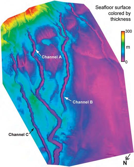 Three-dimensional view of the study region and submarine tributary network, colored with thickness of deposit between the present-day seafloor and subsurface horizon CD1.