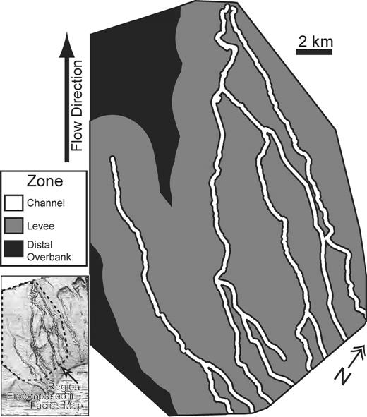 Facies map of three depositional zones in the Brunei Darussalam channel network: channel, levee, and distal overbank. Criteria used to define the zones is based on trends in deposit thickness measured as a function of distance from a channel thalweg as presented in Figures 14D and 14E.