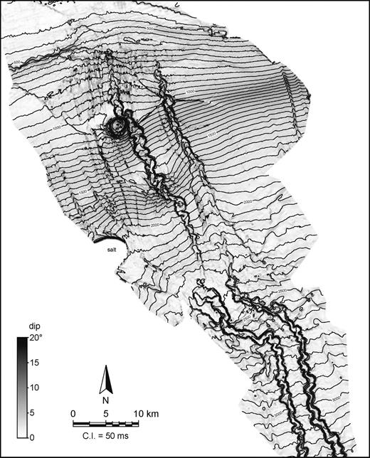 Time structure (contours) and dip magnitude (gray shades) map of base Fuji–Einstein surface. Incision of the slope channels is pronounced on the upper slope; it decreases in the central part of the mapped area, then it increases again downdip from there.