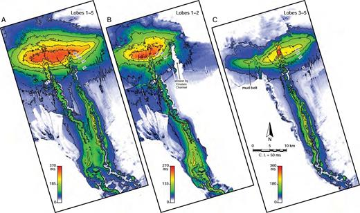 Thickness maps showing that the slope channels are partially coeval with the delta lobes. A) Thickness map of the stratigraphic interval that corresponds to the Fuji–Einstein Delta (lobes 1–5) and to Fuji and Einstein Channels. B) Thickness map of lobes 1 and 2 and Fuji Channel. This interval is dominated by lobe 2. C) Thickness map of lobes 3 to 5 (dominated by lobe 3) and Einstein Channel.