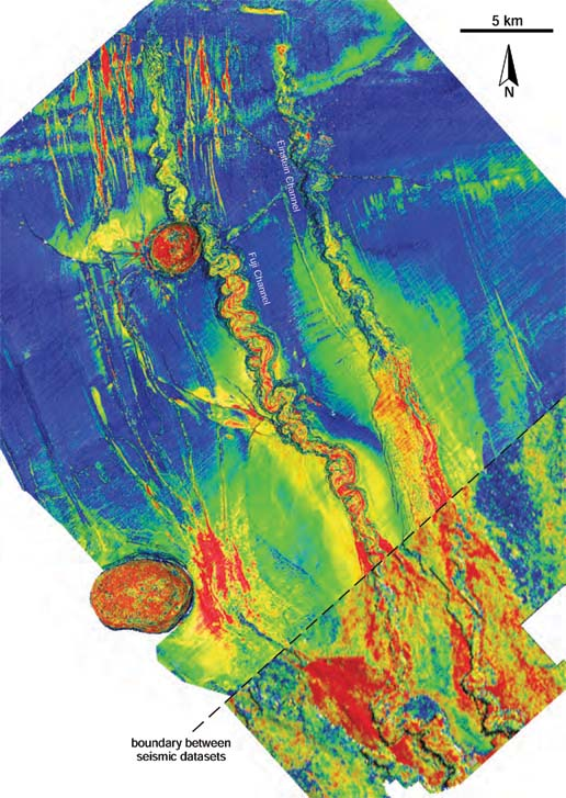 Amplitude map of base Fuji–Einstein surface, draped over shaded relief map. Red colors correspond to high amplitudes, blue colors to low values. Seismic data courtesy of CGG Veritas.