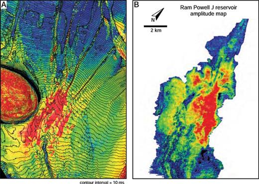 A) Amplitude map of slope apron deposited next to Pascagoula Dome, sourced by multiple gullies that are linked to the Fuji delta lobe (Fig. 16). B) Amplitude map of Ram Powell J reservoir, showing patterns similar to those in Part A, but at lower seismic resolution. Both maps have the same scale. Seismic data courtesy of CGG Veritas.