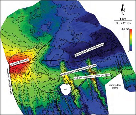 Thickness map of seismic unit overlying the Fuji-Einstein system (see Figure 25 for stratigraphic position). The elongated, slope-parallel wedge is a mud belt that is linked to a shelf-edge delta to the west of Fuji-Einstein.