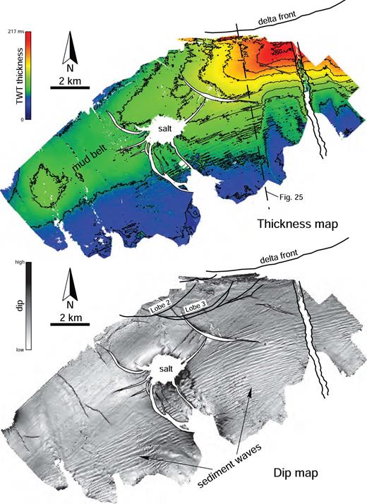Thickness map and dip map of top surface of a seismic unit older than the Fuji–Einstein system. The thickness pattern is suggestive of a mud belt linked to a shelf-edge delta older than Fuji–Einstein. Seismic data courtesy of CGG Veritas.