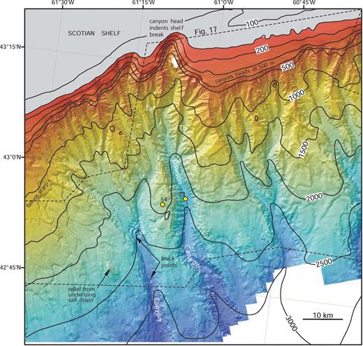 Multibeam bathymetry of Dawson and Verrill canyons and surrounding areas (EM-300; EM-1000 above 700 m). Locations of cores 29 and 54 in Figure 7 are also shown. Dashed line is approximate limit of Figure 17. Ta, Tb are tributary canyon systems to Dawson Canyon. Continental shelf shallower than 150 m is highlighted by gray tone.