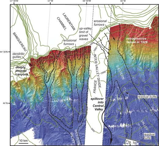 Multibeam bathymetry (EM-120) annotated with of margins of glacial meltwater channels on upper Laurentian Fan, based in part on Piper et al. (1985) and Shor et al. (1990). White strip is the EEZ of France.