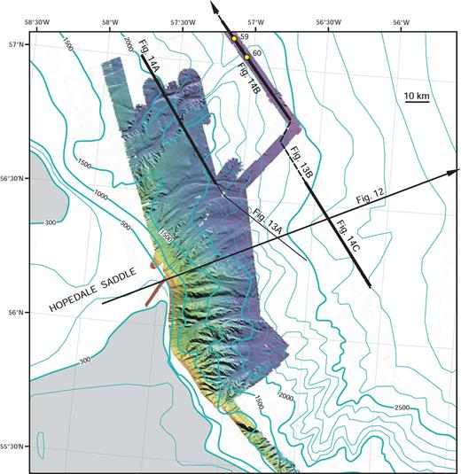Multibeam bathymetry (EM-300 system) and conventional bathymetry of glacial meltwater channels on Hopedale Fan. Locations of seismic sections in Figures 12, 13, and 14 and key cores 59 and 60 are also shown. Continental shelf shallower than 300 m is highlighted by gray tone.