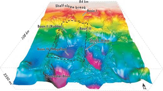Perspective of seabed in area around the linked basins of the Brazos–Trinity system.