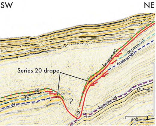 Detail seismic section showing expression of Y8-ash-containing Stage 4 condensed zone draping channel base in Basin IV (see Fig. 13A for line location).
