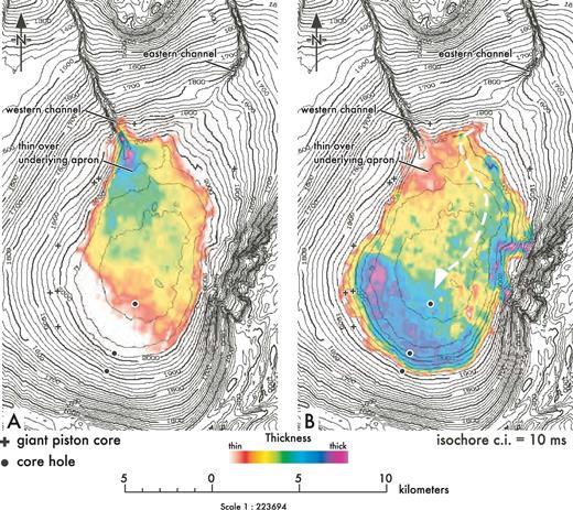 Basin IV isochore maps of A) horizon 60–61 isochore and B) 61–62 isochore.