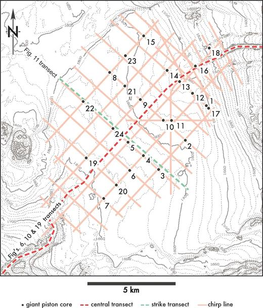 Index map showing locations of seismic, cores, and cross sections projected on a seabed contour map.