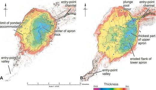 A) Time isochore map of the lower apron (color-fill contours) and time structure map of basin bottom surface (gray contours). B) Time isochore map of the upper apron (color-fill contours) and time structure map of the lower apron top (gray contours).