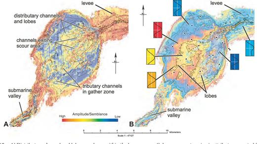 A) Distributary channel and lobe complexes within the lower apron. Colors represent a seismic attribute computed from a combination of amplitude and semblance. Horizon slice is extracted a few milliseconds below the blue horizon (see Fig. 12 for mapping horizons); gray contours are from the time isochore map of the same interval (Fig. 14A). B) Trace-shape map of seabed reflector showing compensating lobes, levees, and exit-point submarine valley. Note the close correspondence of the trace shape and the thickness of the upper apron (gray contour representation of Fig. 14B).