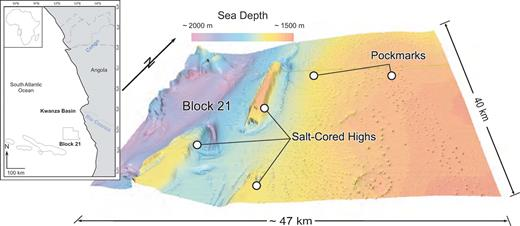 Depth map to sea bottom, illustrating the complex physiography of the study area. Circular pockmarks are prevalent in the area, either adjacent to diapirs or in a curvilinear pattern that closely follow topography; the latter probably track slope gully features that develop orthogonal to the strike of the salt-cored ridges. Inset: Map of western Africa with Block 21 highlighted.