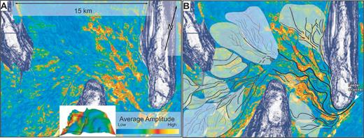 A) Uninterpreted and B) interpreted amplitude slice (55 ms above horizon three) illustrating distributary lobes wrapping around basin topography. Larger lobes infill greater accommodation space in the Western Basin; smaller lobes infill confined topography in the southwest of the study area.