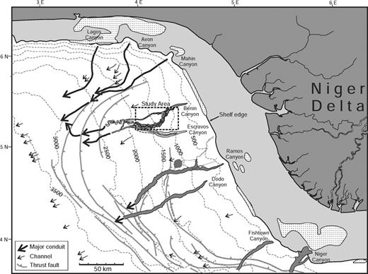 Regional location map showing the western Niger Delta and the location of the study area (dashed box). Major thrust faults on the slope are modified from Saugy and Eyer (2003). Positions of slope conduits are from Damuth (1994), Pirmez et al. (2000), Chapin et al. (2002), Deptuck et al. (2003a), Deptuck et al. (2007), Steffens et al. (2003), and Davies (2003). Contours are in meters.
