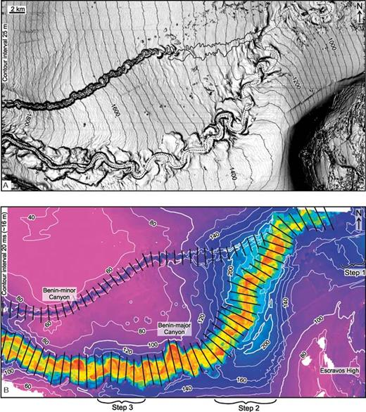 """A) Seafloor dip map showing the present-day expression of the Benin-minor and Benin-major canyons. Channel centerlines are traced for the most recently active sinuous channel at Benin-major (dashed line) and the sinuous channel at the base of the Benin-minor Canyon (solid line). Contour interval is 25 m, and darker shades correspond to steeper dips. B) Time-thickness map between horizons 60 and 1 (seafloor), an interval that records the onset of an """"active"""" sediment-transport corridor and the incision of both the Benin-minor and Benin-major canyons. Maximum sediment accumulation took place along the axis of the Benin-major Canyon and above steps 2 and 3 outside the canyon. The deposits outside the canyon are the focus of this paper. Black lines show the profiles oriented perpendicular to the axes of the Benin-minor and Benin-major canyons that were used to acquire valley measurements. Contour interval is 20 ms (or approximately 16 m using 1600 m/s sediment velocities)."""