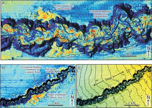Close-up plan-view images of horizon 60. A) Prominent scalloped erosional surface at the base (thalweg) of the Benin-major Canyon, with elevated amplitudes above step 3 outside the canyon. In contrast to the Benin-minor Canyon, the erosional floor of the Benin-major Canyon shows multiple sinuous channel segments recording a complex history of incision. B) Narrow, highly sinuous channel at the erosional base (thalweg) of the deeply incised Benin-minor Canyon. Aside from high-amplitude reflections at the very base of Benin-minor, the fill is characterized by low-amplitude draping reflections. Both (A) and (B) are draped by the RMS amplitude extracted from a 30 ms window above the marker, and lighting is from the east (azimuth of 90 degrees) at an elevation dip of 60 degrees. C) Time-structure map showing deeply entrenched meander bends of the Benin-minor Canyon. Highest channel sinuosity is located above step 3. See Figure 10 for location.