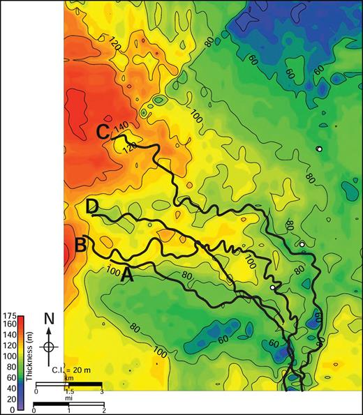 Channel-complex isopach. Color and contours are isopach thickness in meters of the channel complex, calculated as the difference between the seismically defined thickness of Apron 1 and the thickness of the lobe complex (Fig. 4). The contour interval is 20 m. The thalweg locations for Channels A–D are indicated with heavy black lines. The channel complex is thickest along the depositional axis of the channels and along the western basin margin.