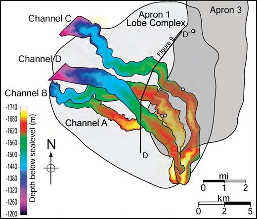 Structure map of Channels A–D. Structure map of the channels that cross Apron 1; the colors are meters below sea level converted from two-way travel time using a constant sediment velocity of 1915 m/s. Channels A–C occur within the channel complex at the top of Apron 1; Channel D crosses the top of the channel complex and Apron 3 (Fig. 9). The position of cross section D–D' (Fig. 9) is indicated with a heavy black line. The location of the lobe complex at the base of Apron 1 (Fig. 6) and Apron 3 are shown in light gray (Fig. 2B).