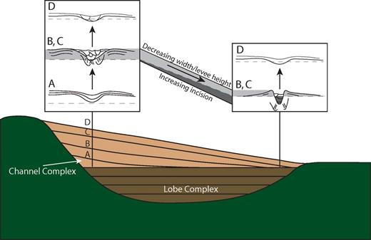 Conceptual model for growth of the channel complex. Conceptual model for the growth of the channel complex modified from Figure 1 to reflect the decreasing proximal gradients observed through Channels A–C (black lines in the light brown area). The data suggest that the bases of the early channels are more convex-up than later channels (Fig. 15B). The morphology of Channels B and C offer a mechanism for the growth of the fan; incision is minimal and levee height and channel width are maximum at the sediment entry point (Figs. 11, 12). Incision increases downdip, accompanied by a decrease in levee height and channel width (Fig. 12).